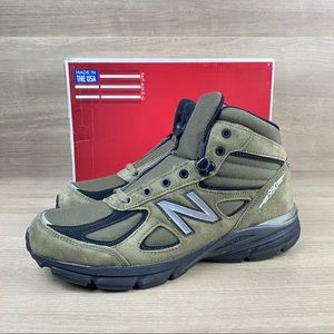New Balance 990V4 Mid Olive Suede Hiking Boot
